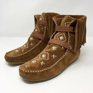 Sam Edelman Fringe Moccasin Booties Size 7.5